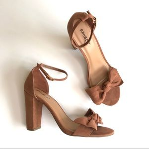 Bamboo Velvet Block Strap Bow Heels in Rust 10